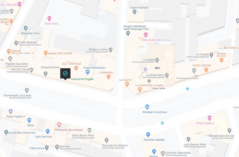 Carte emplacement de la salle de bloc paris pigalle