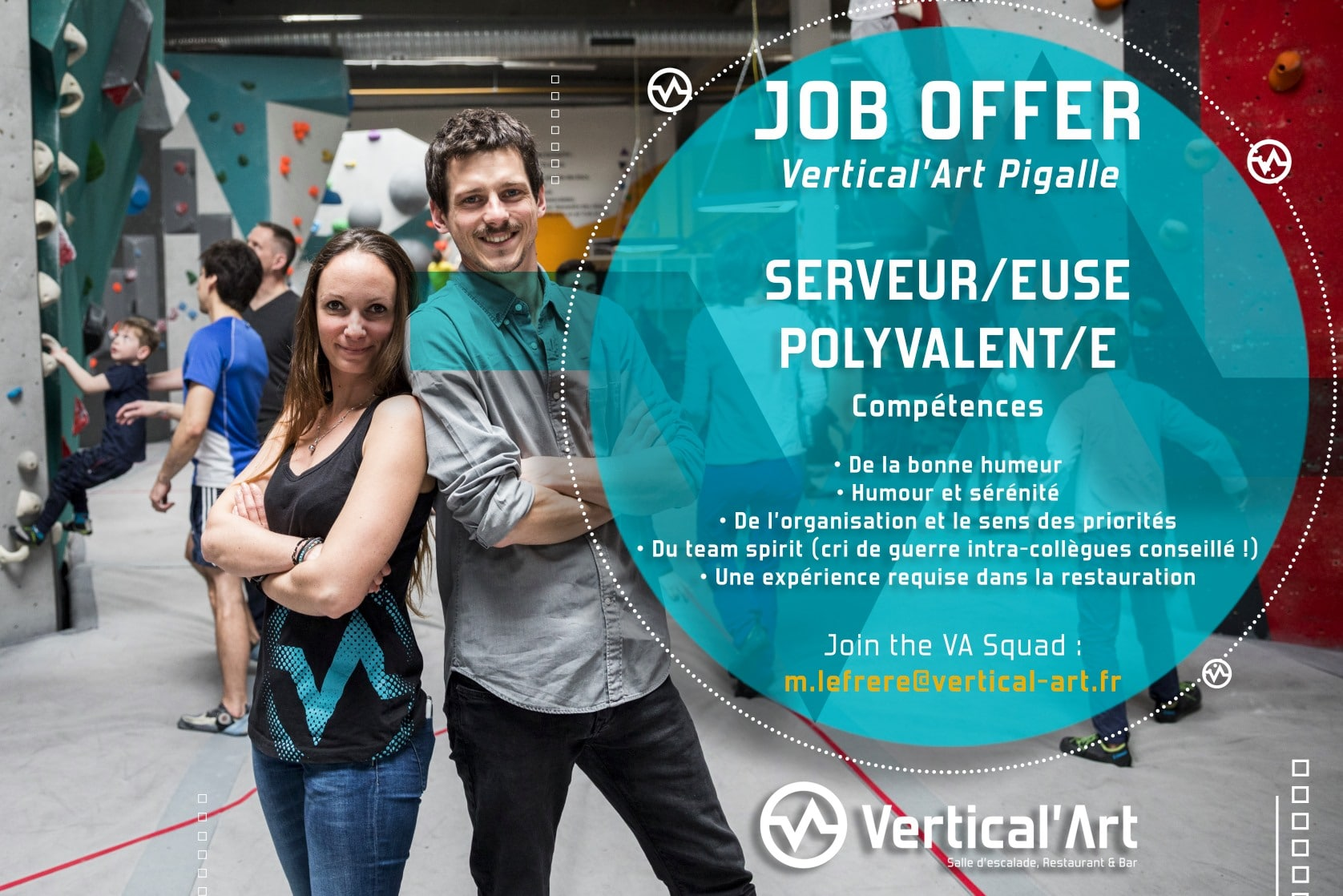 Job offer -Vertical'art pigalle- Bar restaurant sqy - nouveau bloc d'escalade - paris - Pigalle - Vertical'Art - restaurant - bar à paris -
