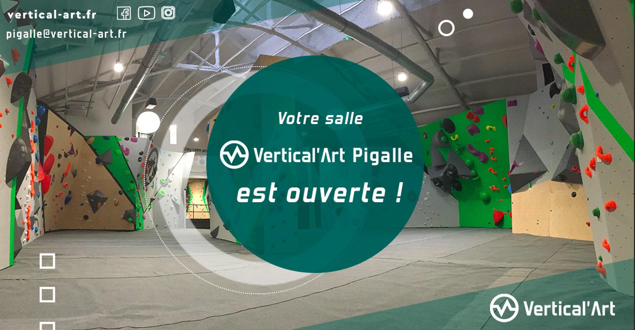 votre salle d'escalade de bloc Vertical'Art Pigalle est ouverte - à paris 18 eme- restaurant et bar - escalade - ouverture - lets go - cour d'escalade - ouvert à tout public