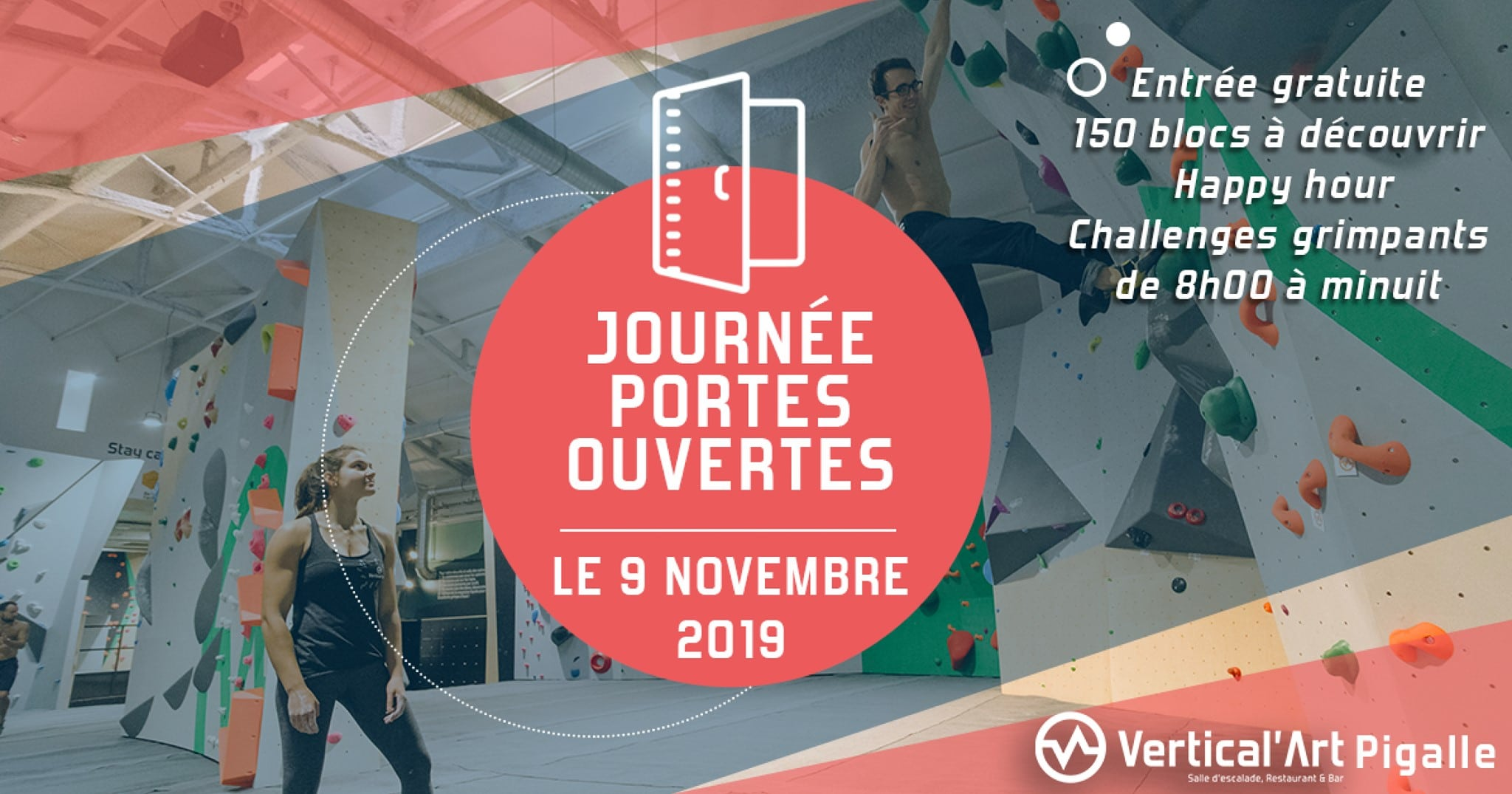journée portes ouvertes - à Vertical'Art Pigalle - paris - salle d'escalade de bloc - restaurant & bar - gratuits - le 9 novembre 2019 -