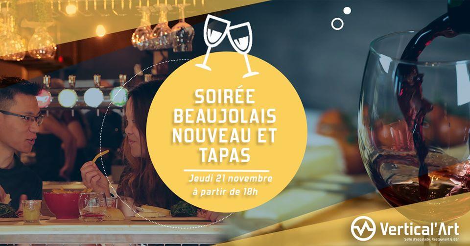soirée beaujolais nouveau et tapas à Vertical'Art Pigalle salle d'escalade de bloc - bloc Park