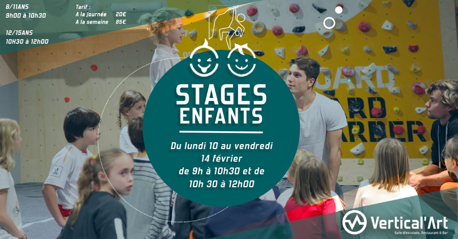 Stage d'escalade enfants vertical'art- Vertical'art pigalle Stages enfants - Paris Stages Enfants Vacances d'hiver