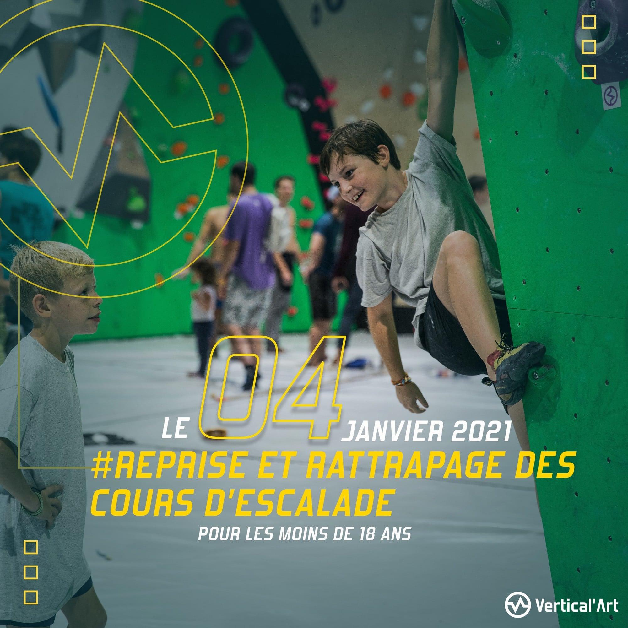 Reprise et rattrapage des cours d'escalade pour les mineurs le 4 janvier à Vertical'Art Paris Pigalle