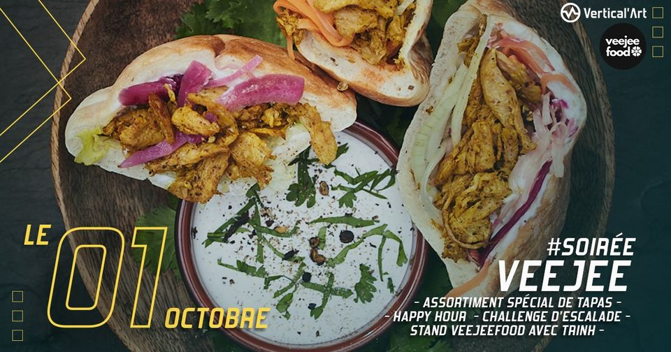 Soirée VEEJEE vendredi 01 octobre à Vertical'Art Pigalle, assortiment de tapas veggie et stand Veejee Food, happy hour, challenge escalade, rendez-vous à partir de 19h30