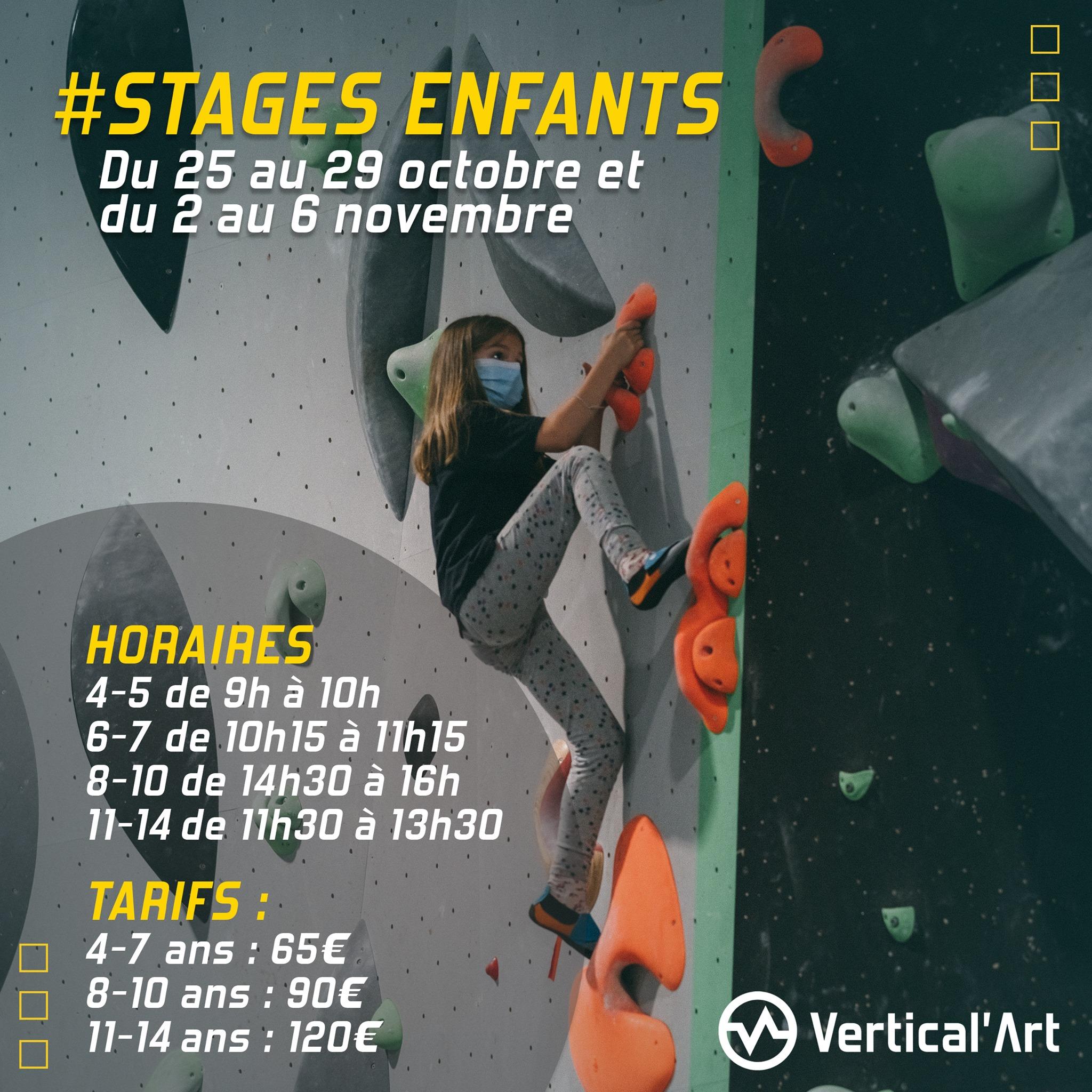 Stages enfants vacances de la Toussaint du vendredi 25 au 29 octobre et du 02 au 06 novembre à Vertical'Art Pigalle, inscriptions ouvertes
